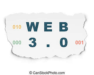 Web development concept: Web 3.0 on Torn Paper background -...