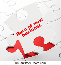 Business concept: Burn Of new Business on puzzle background...