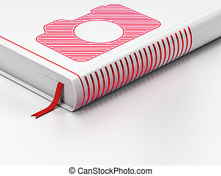 Travel concept: closed book, Photo Camera on white...