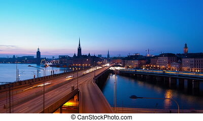 Stockholm City - Traffic in Stockholm City at nigh