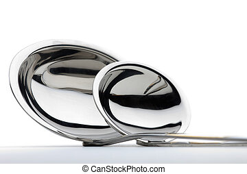 Two chrome-plated ladles