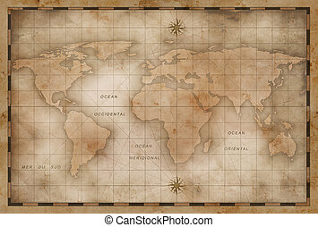 aged or old world map stylization - old nautical world map...