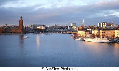 View in Stockholm, Sweden at dusk