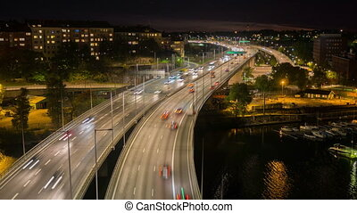 Traffic on Freeway in Sweden, Stockholm