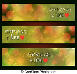 Spring is love - blurred, bokeh design, green color background