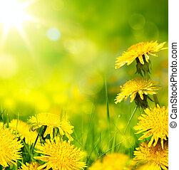 art spring flower background; fresh flower on green grass...