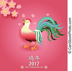 Chinese new year 2017 greeting card Chinese wording...