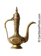 indianas, pequeno, esculpido, bronze, bule, isolado, branca
