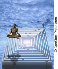 Meditate  - Meditation man and puzzle