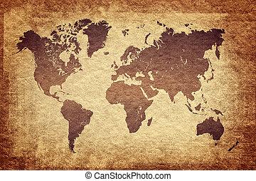 Landkarte,  Grunge, Blick, Weinlese, hintergrund, Welt
