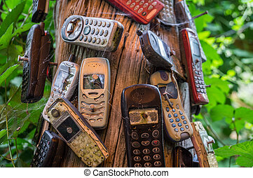 Broken old mobile phones nailed to tree - Old mobile phones...