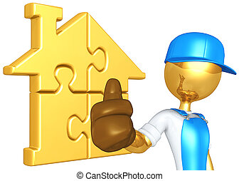Worker With Gold Home Puzzle