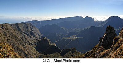 Large View of Silaos Cirque of Reunion Island in the morning light