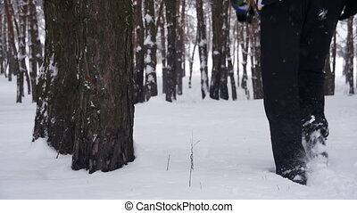 Man Walks in the Winter Pine Forest. Slow Motion in 96 fps....