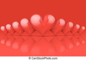 Red Romantic Hearts Background. Card and Invitation of Happy...