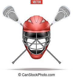 Lacrosse sticks and helmet Label. Sporting Symbol and...