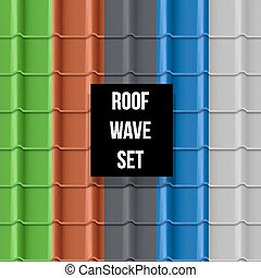 Tiled roof seamless pattern - Set of different color Ceramic...