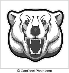 polar bear head - black and white illustration - polar bear...