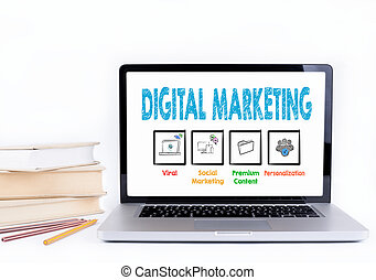 Digital Marketing. Laptop and books on a white background.