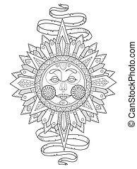 Sun with face coloring book vector illustration. Anti-stress...