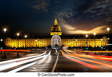Les Invalides in evening - Les Invalides in Paris with...