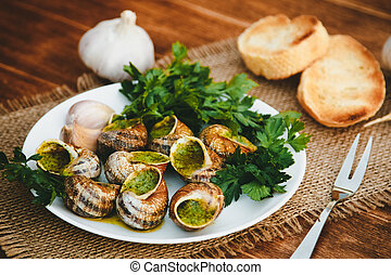 Escargots de Bourgogne - Snails with herbs butter, gourmet...