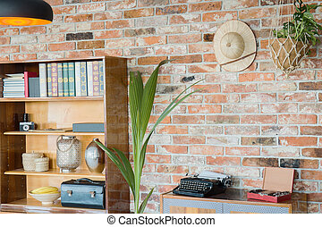 Wooden rack and brick wall - Wooden rack at the brick wall...