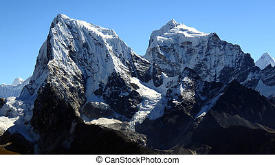 Cholatse and Taboche in the Khumbu in Nepal