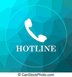 Hotline icon. Hotline website button on blue low poly...