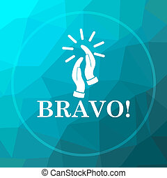 Bravo icon. Bravo website button on blue low poly...