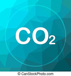 CO2 icon. CO2 website button on blue low poly background.