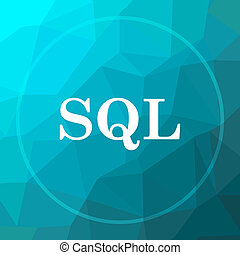 SQL icon. SQL website button on blue low poly background.