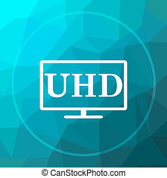 Ultra HD icon. Ultra HD website button on blue low poly...