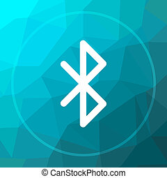 Bluetooth icon. Bluetooth website button on blue low poly...