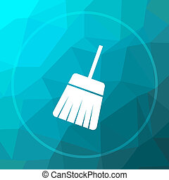 Sweep icon. Sweep website button on blue low poly...