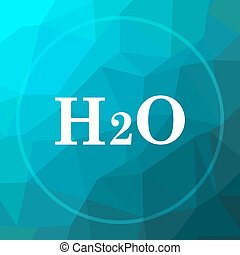 H2O icon. H2O website button on blue low poly background.
