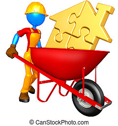 Gold Puzzle Home In Wheelbarrow - A Concept And Presentation...