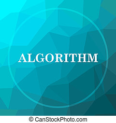Algorithm icon. Algorithm website button on blue low poly...