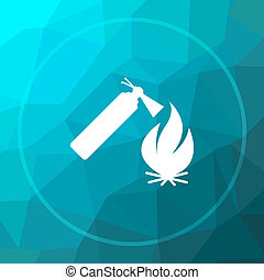 Fire icon. Fire website button on blue low poly background.