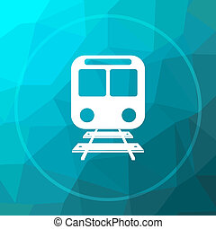 Train icon. Train website button on blue low poly...