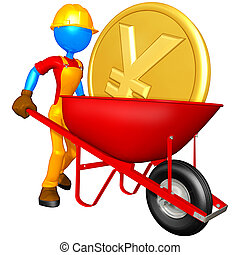 Worker With Gold Coin Wheelbarrow - A Concept And...