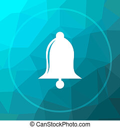 Bell icon. Bell website button on blue low poly background.