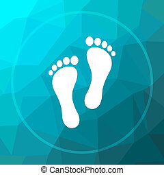 Foot print icon. Foot print website button on blue low poly...