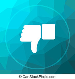 Thumb down icon. Thumb down website button on blue low poly...