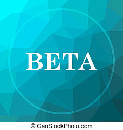 Beta icon. Beta website button on blue low poly background.