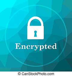 Encrypted icon. Encrypted website button on blue low poly...