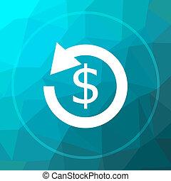 Refund icon. - Refund. icon. Refund. website button on blue...