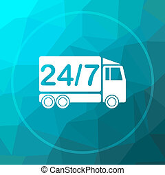 24 7 delivery truck icon. 24 7 delivery truck website button...