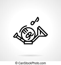 French horn and note simple line vector icon - Musical...