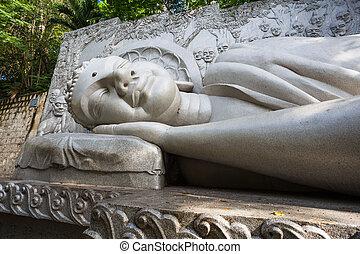 Sleeping Buddha at the Long Son Pagoda in Nha Trang. Vietnam